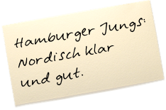 """Auf einem Zettel steht: """"Hamburger Jungs: Nordisch klar und gut."""""""
